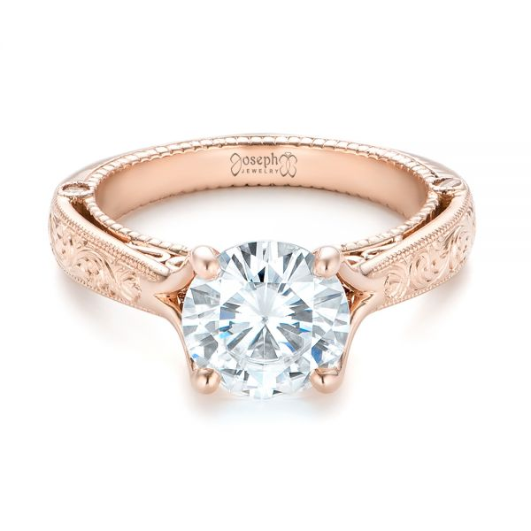 Custom Diamond and Rose Gold Engagement Ring - Flat View -  102777 - Thumbnail