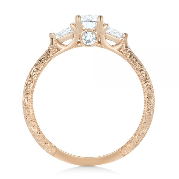 Custom Diamond and Rose Gold Engagement Ring - Front View -  102352 - Thumbnail
