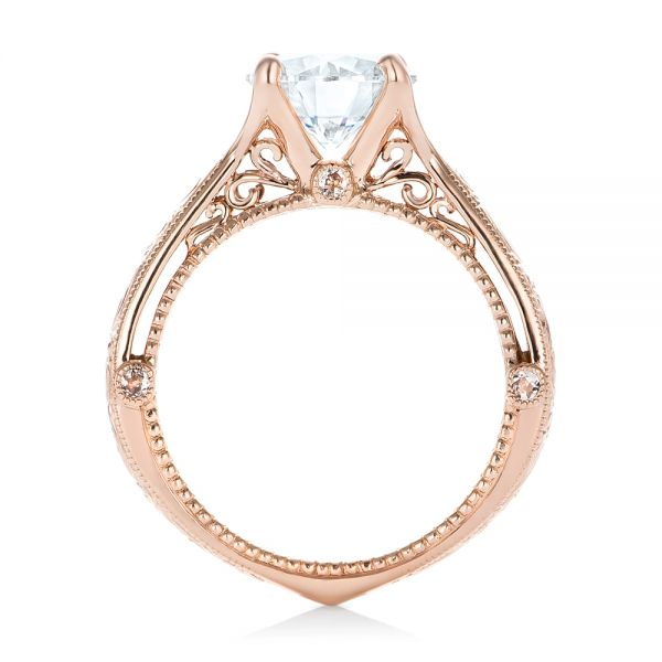 Custom Diamond and Rose Gold Engagement Ring - Front View -  102777 - Thumbnail