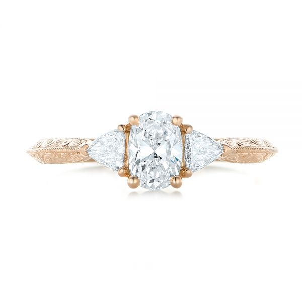 Custom Diamond and Rose Gold Engagement Ring - Top View -  102352 - Thumbnail