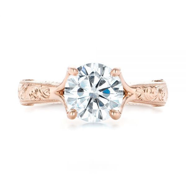 Custom Diamond and Rose Gold Engagement Ring - Top View -  102777 - Thumbnail