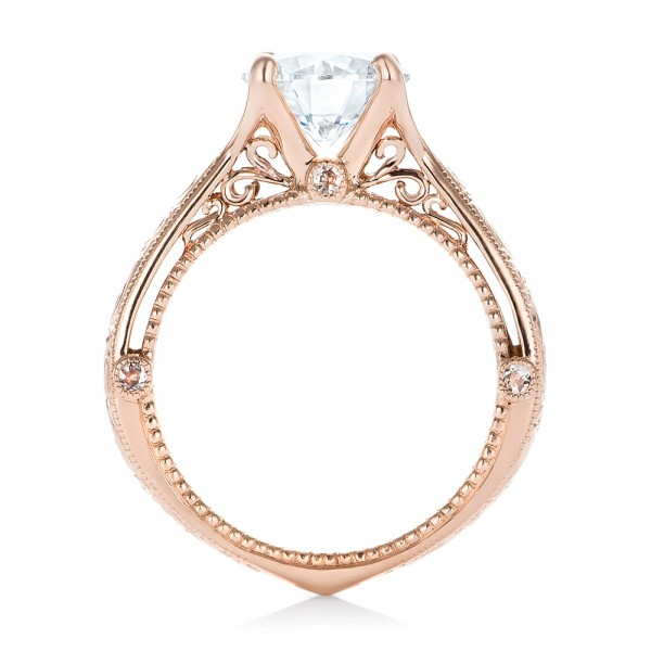 Custom Diamond and Rose Gold Engagement Ring - Finger Through View