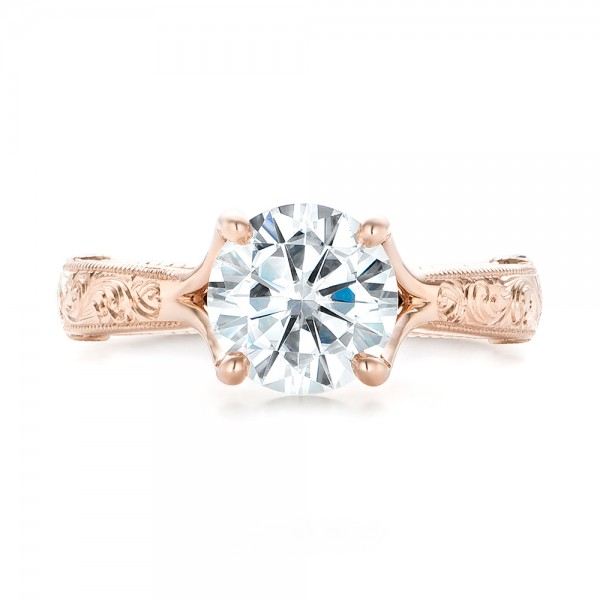 Custom Diamond and Rose Gold Engagement Ring - Top View