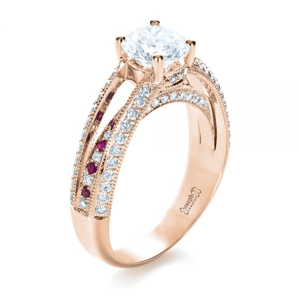 14K Rose Gold Custom Diamond and Ruby Engagement Ring - Three-Quarter View -  1309 - Thumbnail