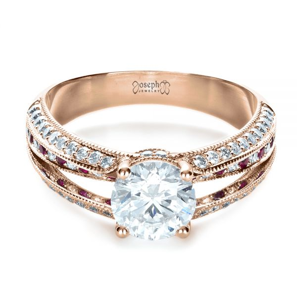 14K Rose Gold Custom Diamond and Ruby Engagement Ring - Flat View -  1309 - Thumbnail