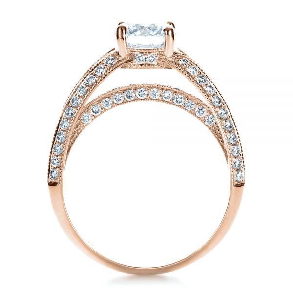 14K Rose Gold Custom Diamond and Ruby Engagement Ring - Front View -  1309 - Thumbnail