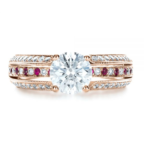14K Rose Gold Custom Diamond and Ruby Engagement Ring - Top View -  1309 - Thumbnail