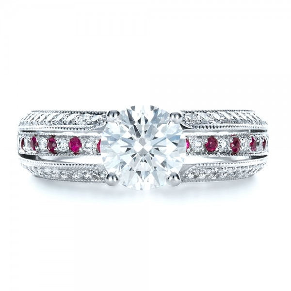 Custom Diamond and Ruby Engagement Ring - Top View