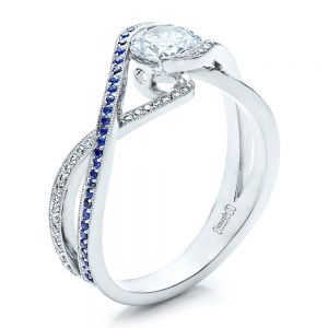 Custom Diamond and Sapphire Engagement Ring - Image