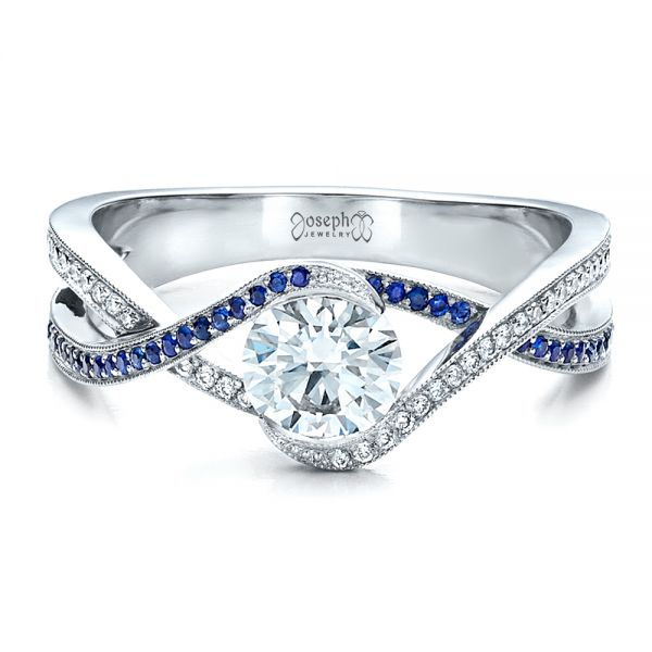 18K White Gold Custom Diamond and Sapphire Engagement Ring - Flat View -  1475 - Thumbnail