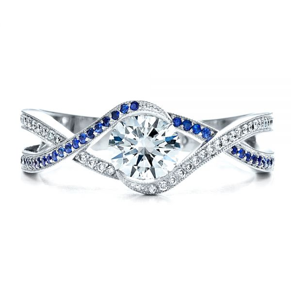 18K White Gold Custom Diamond and Sapphire Engagement Ring - Top View -  1475 - Thumbnail