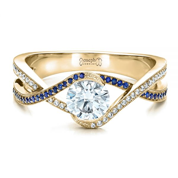 18K Yellow Gold Custom Diamond and Sapphire Engagement Ring - Flat View -  1475 - Thumbnail