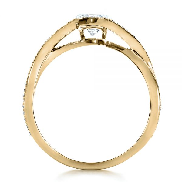18K Yellow Gold Custom Diamond and Sapphire Engagement Ring - Front View -  1475 - Thumbnail