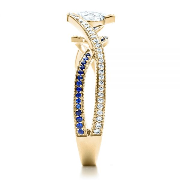 18K Yellow Gold Custom Diamond and Sapphire Engagement Ring - Side View -  1475 - Thumbnail