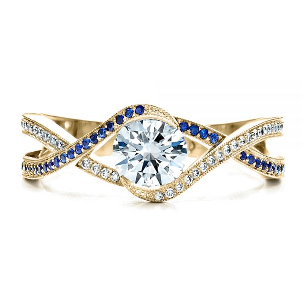 18K Yellow Gold Custom Diamond and Sapphire Engagement Ring - Top View -  1475 - Thumbnail