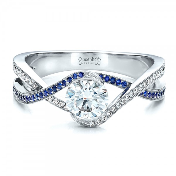 Custom Diamond and Sapphire Engagement Ring