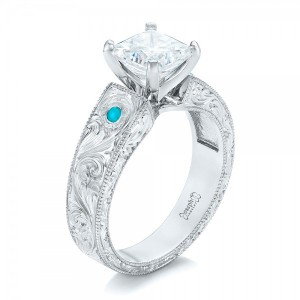Custom Diamond and Turquoise Engagement Ring