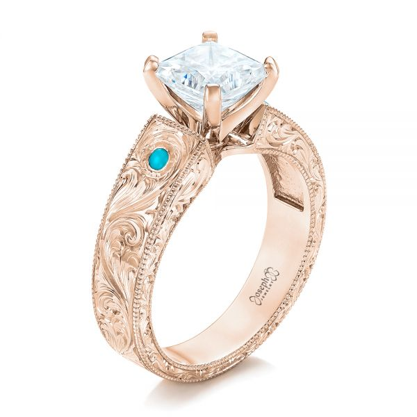 14k Rose Gold 14k Rose Gold Custom Diamond And Turquoise Engagement Ring - Three-Quarter View -