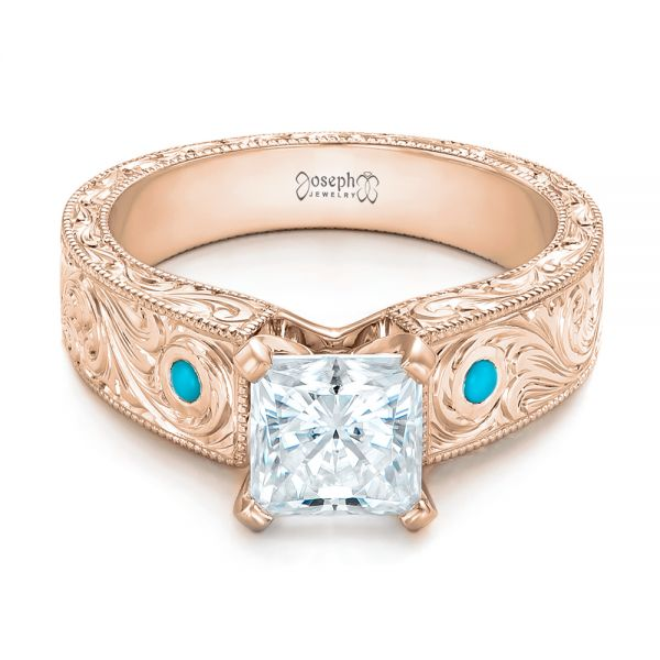 14k Rose Gold 14k Rose Gold Custom Diamond And Turquoise Engagement Ring - Flat View -