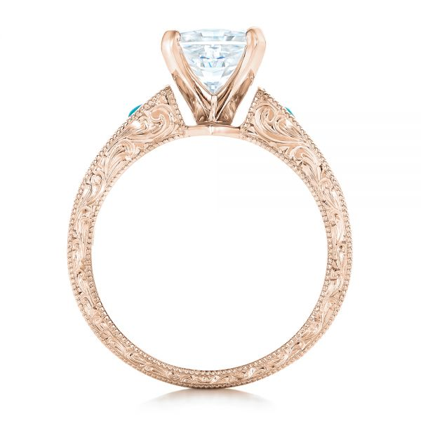 14k Rose Gold 14k Rose Gold Custom Diamond And Turquoise Engagement Ring - Front View -