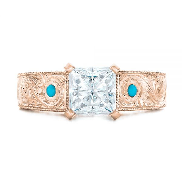 14k Rose Gold 14k Rose Gold Custom Diamond And Turquoise Engagement Ring - Top View -