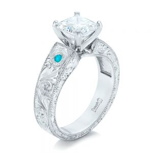 Custom Diamond and Turquoise Engagement Ring - Image