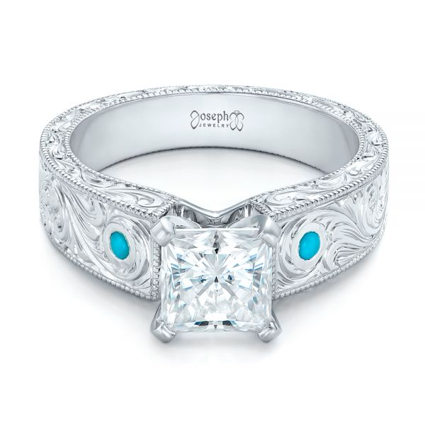 Platinum Custom Diamond And Turquoise Engagement Ring - Flat View -