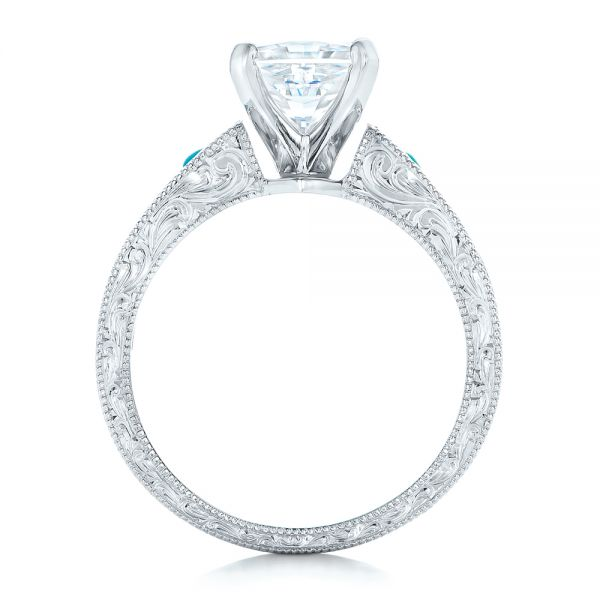 Platinum Custom Diamond And Turquoise Engagement Ring - Front View -