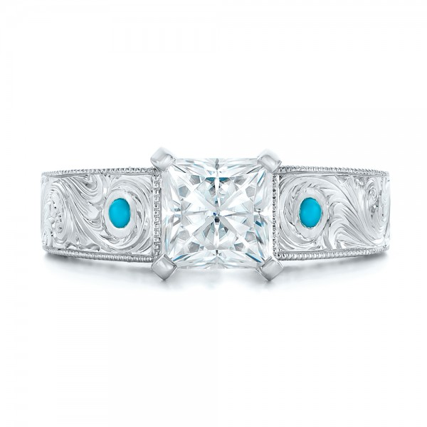 ... Custom Diamond and Turquoise Engagement Ring - Top View ...