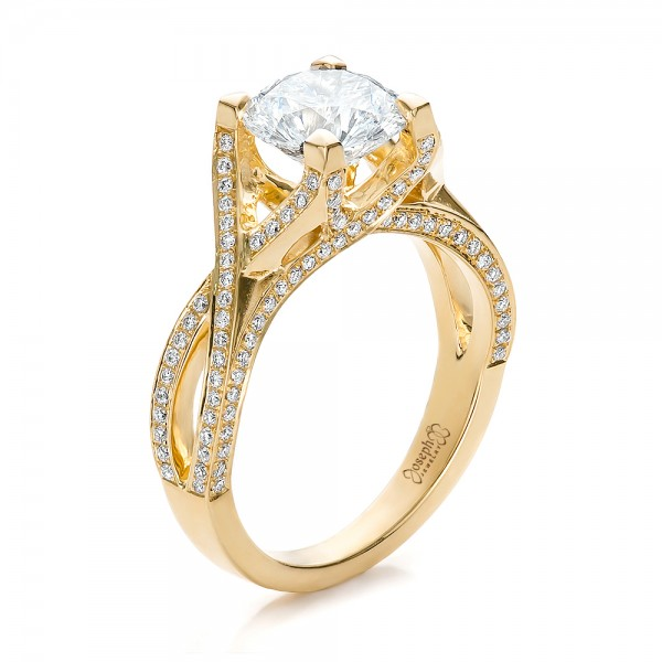 custom diamond and yellow gold engagement ring - Gold Diamond Wedding Rings