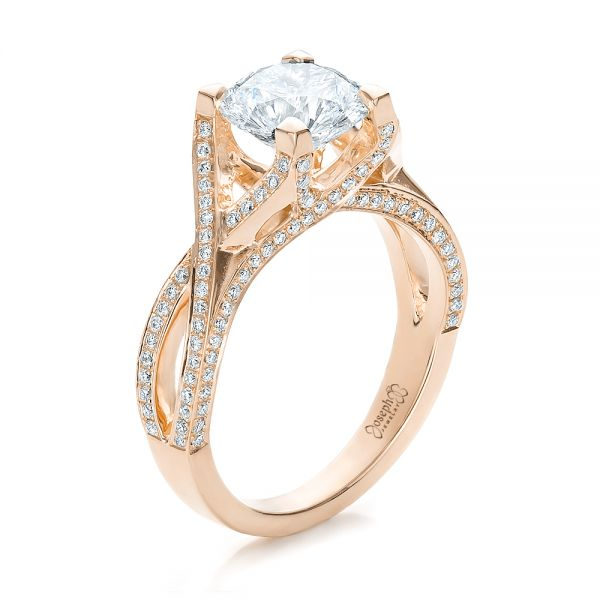 Custom Diamond and Yellow Gold Engagement Ring - Image