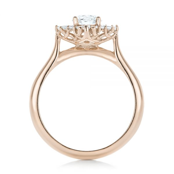 18K Rose Gold Custom Diamond and Yellow Gold Engagement Ring - Front View -  102230 - Thumbnail