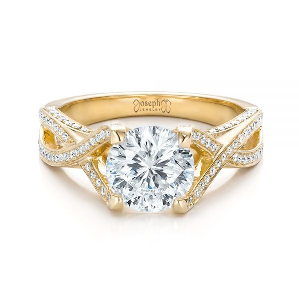 Custom Diamond and Yellow Gold Engagement Ring - Flat View -  100565 - Thumbnail