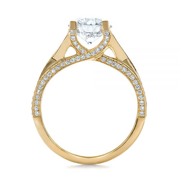 18k Yellow Gold Custom Diamond Engagement Ring - Front View -