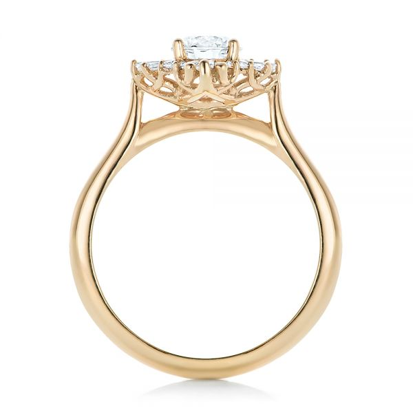 Custom Diamond and Yellow Gold Engagement Ring - Front View -  102230 - Thumbnail