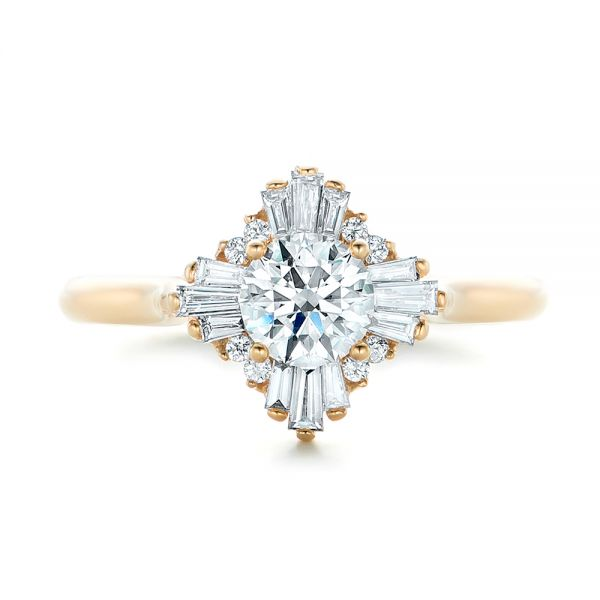 Custom Diamond and Yellow Gold Engagement Ring - Top View -  102230 - Thumbnail