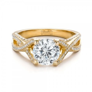 Custom Diamond and Yellow Gold Engagement Ring