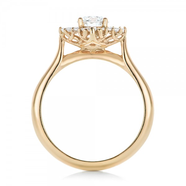 Custom Diamond and Yellow Gold Engagement Ring - Finger Through View
