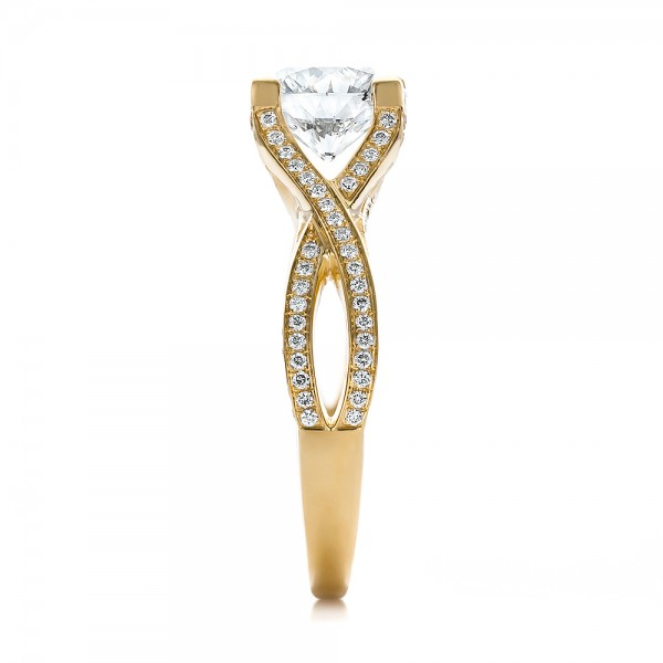 Custom Diamond and Yellow Gold Engagement Ring - Side View
