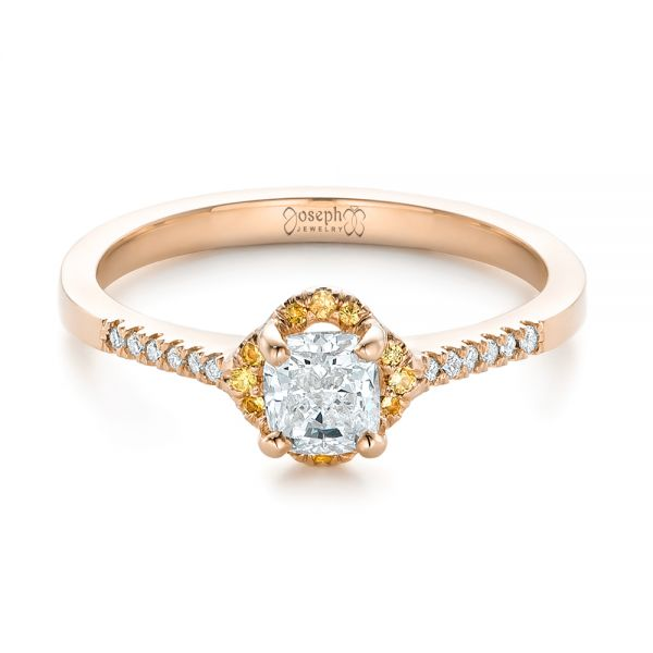 18k Rose Gold 18k Rose Gold Custom Diamond And Yellow Sapphire Engagement Ring - Flat View -