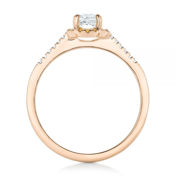 18k Rose Gold 18k Rose Gold Custom Diamond And Yellow Sapphire Engagement Ring - Front View -