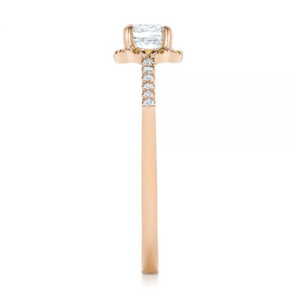 18k Rose Gold 18k Rose Gold Custom Diamond And Yellow Sapphire Engagement Ring - Side View -