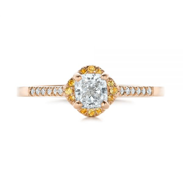 18k Rose Gold 18k Rose Gold Custom Diamond And Yellow Sapphire Engagement Ring - Top View -