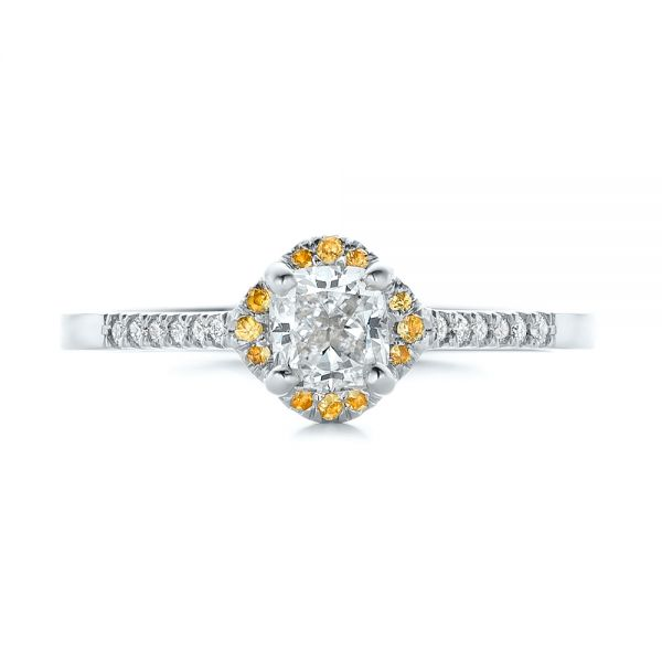 18k White Gold 18k White Gold Custom Diamond And Yellow Sapphire Engagement Ring - Top View -