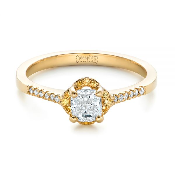 18k Yellow Gold 18k Yellow Gold Custom Diamond And Yellow Sapphire Engagement Ring - Flat View -