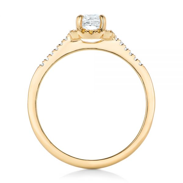 18k Yellow Gold 18k Yellow Gold Custom Diamond And Yellow Sapphire Engagement Ring - Front View -