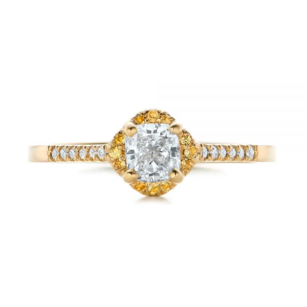 18k Yellow Gold 18k Yellow Gold Custom Diamond And Yellow Sapphire Engagement Ring - Top View -