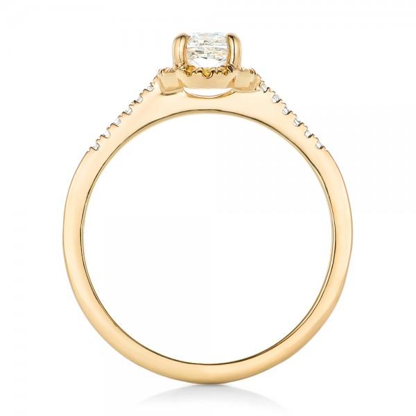 Custom Diamond and Yellow Sapphire Engagement Ring - Finger Through View