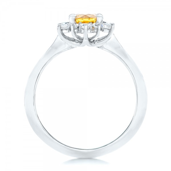 Diamond and Yellow Sapphire Engagement Ring - Front View -  1403 - Thumbnail