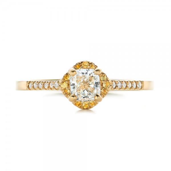 Custom Diamond and Yellow Sapphire Engagement Ring - Top View